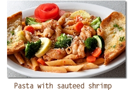 Pasta with sauteed shrimp